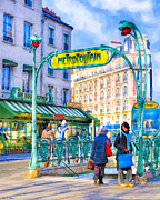 Signature Digital Art - Metropolitain - Parisian Subway Street Scene by Mark E Tisdale