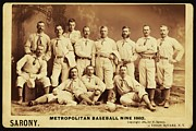 Baseball Poster Prints - Metropolitan Baseball Nine Team in 1882 Print by Digital Reproductions