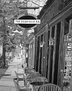 John Schuller Posters - Metropolitan Cafe - Black and White Poster by John Schuller