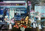 Israel Painting Originals - Metudela Flowers by Nekoda  Singer