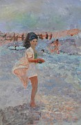 Shower Gift Paintings - Mexican Bobbie   Mom at the Beach by Jill Jacobs