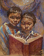 Books Pastels Framed Prints - Mexican Brothers Reading Framed Print by Ellen Dreibelbis