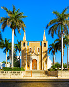 Afternoon Light Framed Prints - Mexican Church Sheltered by Palm Trees Framed Print by Mark E Tisdale
