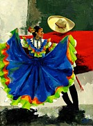 Acrylic. Green Prints - Mexican Dancers Print by Elisabeta Hermann