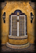 Tiled Framed Prints - Mexican Hacienda Fountain Framed Print by Lee Dos Santos
