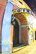Entrance Door Digital Art Posters - Mexican Hotel Entrance at Night Poster by Mark E Tisdale