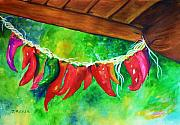 Red Hot Chili Peppers Paintings - Mexican Jalapeno Peppers by Jane  Ricker