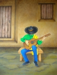 Guitar Player Painting Originals - Mexican Serenade by Pamela Allegretto