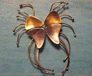 Lois Picasso Metal Prints - Mexico Jewelry Puzzle Dali Long Legged Butterfly Metal Print by Lois Picasso