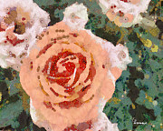 Ornamental Digital Art Originals - Meyers Klimt Garden Rose by Linda Weinstock