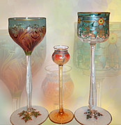 Painted Glass Art - Meyrs Neffe Wine Glasses by Ginny Schmidt