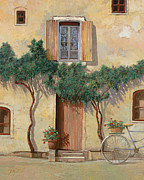 Transportation Glass Posters - Mezza Bicicletta Sul Muro Poster by Guido Borelli
