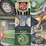 Transportation Painting Posters - MG Car Collage Poster by Karen Fleschler