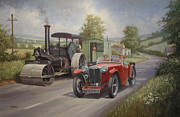 England Artist Paintings - MG sports car. by Mike  Jeffries