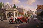 Village Paintings - MG TC Sports car by Mike  Jeffries
