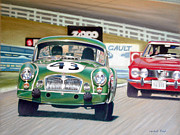Race Pastels - MG vs. Alfa by Randall Floyd