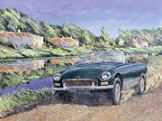 Green Day Paintings - MGB by a French Canal by Clive Metcalfe