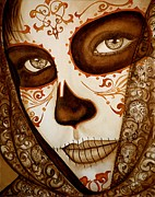 Day Of The Dead Painting Posters - Mi Amor detras del Velo Poster by Al  Molina