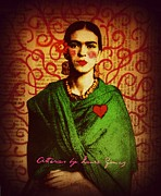Rivera Mixed Media Framed Prints - Mi Frida - Art by Laura Gomez Framed Print by Laura and Karina Gomez