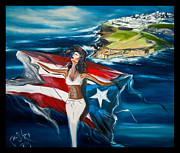 Puerto Rico Paintings - Mi Orgullo by Pete  Castro