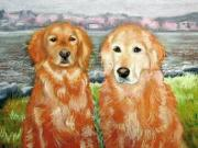 Dogs Pastels Framed Prints - Miah and Molly the Goldens Framed Print by Lenore Gaudet