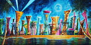 Colorful Buildings Posters - Miami City South Beach Original Painting Tropical Cityscape Art MIAMI NIGHT LIFE by MADART Absolut X Poster by Megan Duncanson