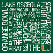 Touchdown Posters - Miami College Colors Subway Art Poster by Replay Photos
