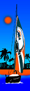 Dolphin Digital Art Framed Prints - Miami Dolphins Go Sailing Framed Print by Peter Stevenson