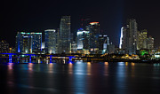Miami Skyline Posters - Miami Downtown Skyline Poster by Raul Rodriguez