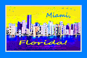 Miami Digital Art Posters - Miami Florida Poster by Mike Moore FIAT LUX