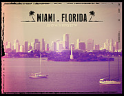 Miami Digital Art Posters - Miami Florida Poster by Phil Perkins