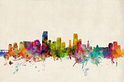 Urban Watercolor Digital Art Metal Prints - Miami Florida Skyline Metal Print by Michael Tompsett