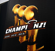 American Airlines Arena Prints - Miami Heat AAA Championship Banner Print by J Anthony