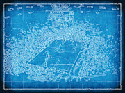 Miami Heat Prints - Miami Heat Arena Blueprint Print by Joe Myeress