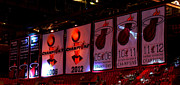 Lebron Photo Metal Prints - Miami Heat Banners Metal Print by J Anthony