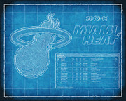 Miami Heat Posters - Miami Heat Blueprint Poster by Joe Myeress
