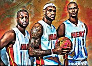 Lebron Metal Prints - Miami Heat Metal Print by Carlos Diaz
