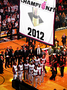 Dwyane Wade Metal Prints - Miami Heat Championship Banner Metal Print by J Anthony