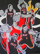 Nba Champs Framed Prints - Miami Heat Framed Print by Gary Niles