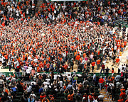 Canvas Wall Art Framed Prints - Miami Hurricanes Fans Rush the Court at BankUnited Center Framed Print by Replay Photos