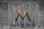 Baseball Bat Photo Framed Prints - Miami Marlins Framed Print by Joe Hamilton