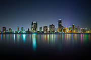 Florida Art - Miami Night Skyline by Andres Leon