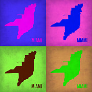 Miami Digital Art Metal Prints - Miami Pop Art Map 1 Metal Print by Irina  March