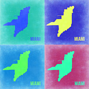 Miami Digital Art Metal Prints - Miami Pop Art Map 2 Metal Print by Irina  March