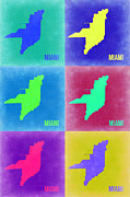 Florida Art Framed Prints - Miami Pop Art Map 3 Framed Print by Irina  March