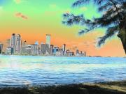 Miami Skyline Art - Miami Skyline Abstract II by Christiane Schulze