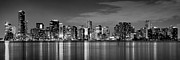 Miami Skyline Posters - Miami Skyline at Dusk Black and White BW Panorama Poster by Jon Holiday