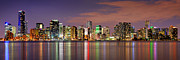 Miami Posters - Miami Skyline at Dusk Sunset Panorama Poster by Jon Holiday