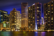Miami Skyline At Night Print by Dmitry Chernomazov