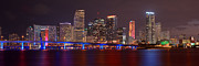Miami Skyline Posters - Miami Skyline at Night Panorama Color Poster by Jon Holiday